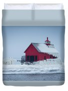 Grand Haven Lighthouse Encased In Ice Duvet Cover