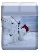Grand Haven Lighthouse In Winter Duvet Cover