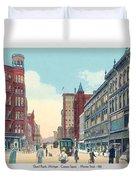 Grand Rapids - Michigan - Campau Square And Monroe Street - 1912 Duvet Cover