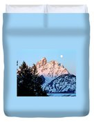 Grand Teton National Park Moonset Duvet Cover