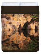 Granite Cliffs And Reflections In A Quarry Lake Duvet Cover