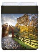 Granny Squirrel Bridge Duvet Cover by Debra and Dave Vanderlaan