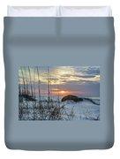 Grass And Mound Sunrise Duvet Cover