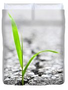 Grass In Asphalt Duvet Cover by Elena Elisseeva