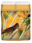 Grasshopper On Coneflower Stem Duvet Cover