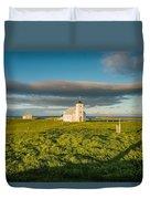 Grasslands And Flatey Church, Flatey Duvet Cover