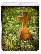 Gravestone With Snowdrops Duvet Cover