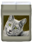 Gray Cat With Green Eyes Duvet Cover
