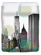 Gray City Beams Duvet Cover