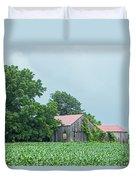 Gray Sky - Red Roofed Barn - Green Fields Duvet Cover