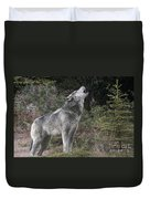 Gray Wolf Howling Endangered Species Wildlife Rescue Duvet Cover
