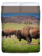 Grazing Bison Duvet Cover