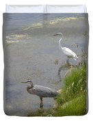 Great Blue And White Egrets Duvet Cover