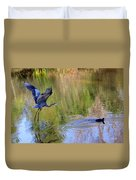 Great Blue Heron And Coot Duvet Cover