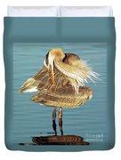 Great Blue Heron Ardea Herodias Preening Duvet Cover