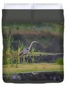 Great Blue Heron At Down East Maine Wetland Duvet Cover