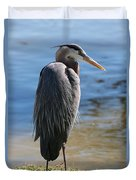 Great Blue Heron By Pond Duvet Cover