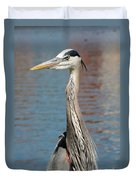 Great Blue Heron By The Water Duvet Cover