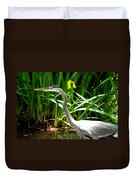 Great Blue Heron By Yellow Flower Duvet Cover
