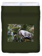 Great Blue Heron - Colorful Reflections Duvet Cover