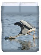 Great Blue Heron Fishing Duvet Cover