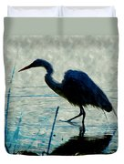 Great Blue Heron Fishing In The Low Lake Waters Duvet Cover