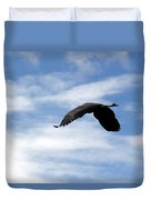 Great Blue Heron Flying Past The Clouds Above Trojan Pond 2 Duvet Cover