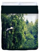 Great Blue Heron Flying Past The Trees Above Trojan Pond 2 Duvet Cover
