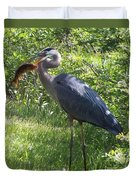 Great Blue Heron Grabs A Meal Duvet Cover