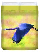 Great Blue Heron In Flight Art Duvet Cover