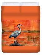 Great Blue Heron In Marsh Duvet Cover