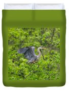 Great Blue Heron Landing Duvet Cover