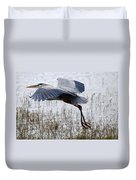 Great Blue Heron Landing Series 3 Duvet Cover