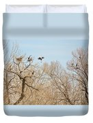 Great Blue Heron Nest Building 1 Duvet Cover