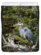 Great Blue Heron On Log Duvet Cover