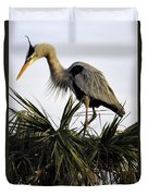 Great Blue Heron On Palm Duvet Cover