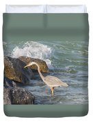 Great Blue Heron On The Prey Duvet Cover