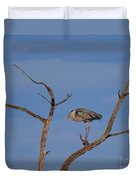 Great Blue Heron Perched On Branch Duvet Cover
