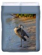 Great Blue Heron Preening On The Beach Duvet Cover