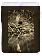 Great Blue Heron Reflection Duvet Cover
