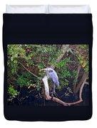 Great Blue Heron Resting Duvet Cover