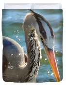 Great Blue Heron Splish Splash Duvet Cover