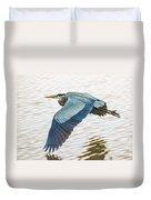 Great Blue Heron Taking Flight Duvet Cover