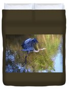 Great Blue Heron Taking Off Duvet Cover