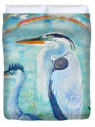 Great Blue Herons Seek Freedom Duvet Cover