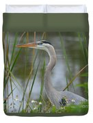 Great Blue In The Reeds Duvet Cover