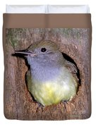 Great Crested Flycatcher In Nest Cavity Duvet Cover