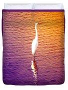 Great Egret At Sundown  Duvet Cover