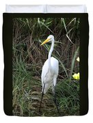 Great Egret In The Green Duvet Cover