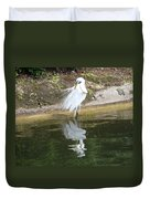 Great Egret In The Lake Duvet Cover